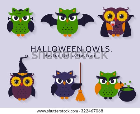 Happy Halloween! Vector owls are dressed in costumes of witch, vampire, bat and other traditional spooky characters of Halloween. Set of colorful icons isolated on clear background. Flat collection. - stock vector