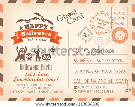 Happy Halloween Vintage Postcard invitation background design - stock vector