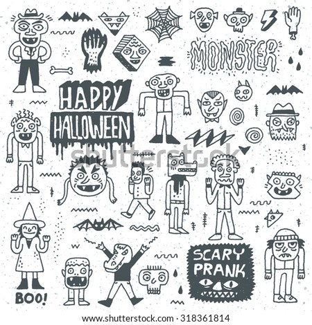 Happy Halloween. Wacky Cartoon Doodle Set. Vector Hand Drawn Illustration Pattern. - stock vector