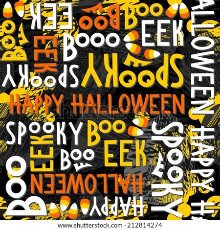 Happy halloween white black yellow orange letters and sweets autumn holiday colorful seamless pattern on dark background  - stock vector