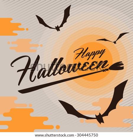 happy Halloween with bats and full moon - stock vector