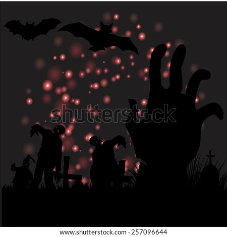 Happy Halloween with hand ghost and flying bats background vector.illustration - stock vector