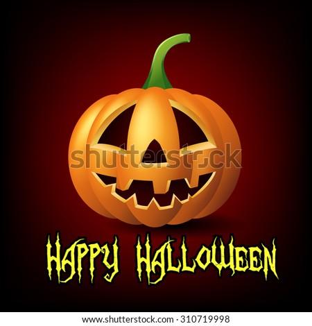 Happy Halloween with Jack o lantern pumpkin - stock vector
