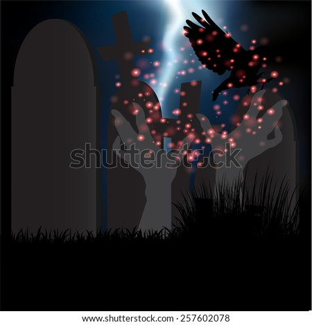 Happy Halloween with rood and hand ghost background vector.illustration - stock vector