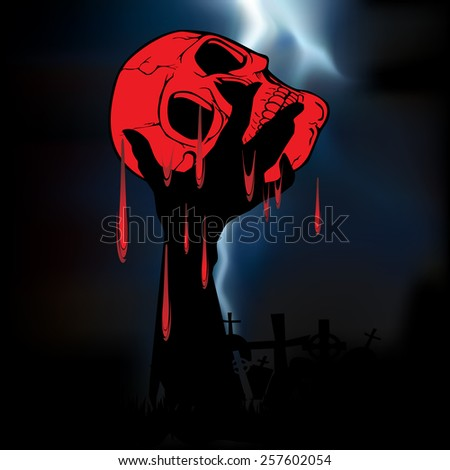 Happy Halloween with skull and hand ghost background vector.illustration - stock vector