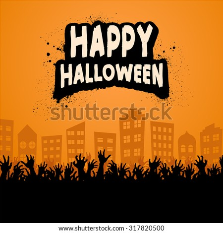 Happy Halloween Zombie Crowd Orange - stock vector