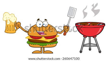 Happy Hamburger Cartoon Character Holding A Beer And Bbq Slotted Spatula By A Grill. Vector Illustration Isolated On White - stock vector
