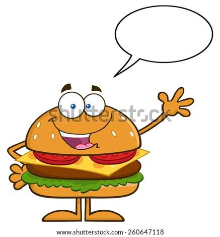 Happy Hamburger Cartoon Character Waving With Speech Bubble. Vector Illustration Isolated On White - stock vector
