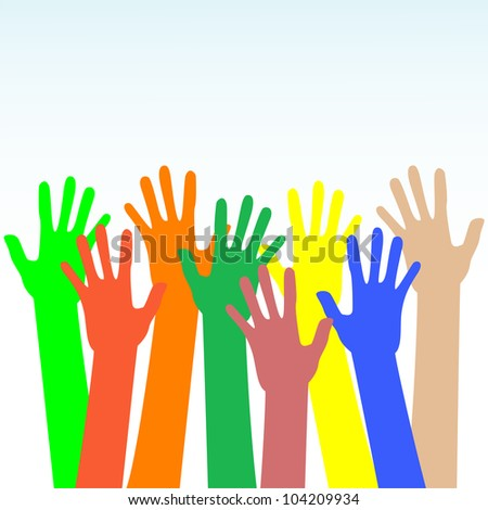 happy hands multicolored on blue background vector