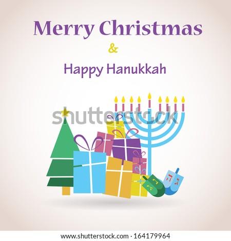 happy Hanukkah and merry christmas - stock vector