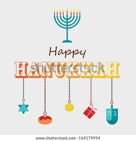 Happy Hanukkah greeting card design. - stock vector