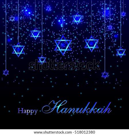 Happy Hanukkah Greeting Card With Stars Of David Luminous Background Splashes Sequins