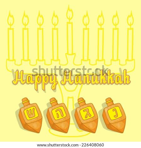 Happy Hanukkah Greeting Vector Card Design with Dreidel - stock vector