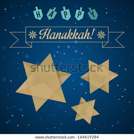 Happy Hanukkah Greeting with Star of David and Dreidels. Vector illustration. Easy to edit. - stock vector