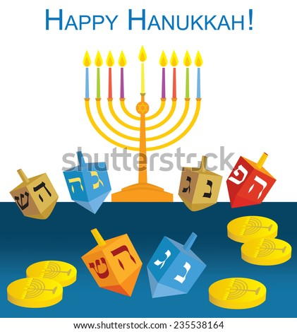 Happy Hanukkah: Hanukkah menorah, dreidels and coins- vector illustration - EPS 10 - stock vector
