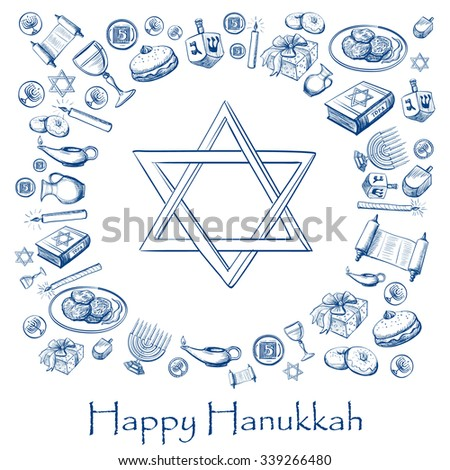Happy Hanukkah holiday greeting background with candlestick, star of David, torah, menorah, dreidel and gifts - stock vector
