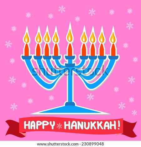 Happy Hanukkah illustration with blue menorah candlestick, red candles, flames and snow flakes on pink background. Hand written greeting text on red ribbon. For jewish holiday. Vector art, Eps 10. - stock vector