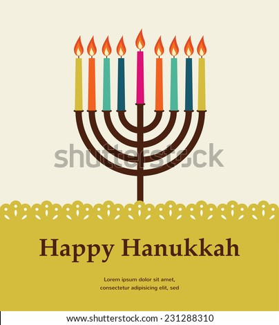 happy hanukkah, jewish holiday. Hanukkah meora with colorful candles - stock vector