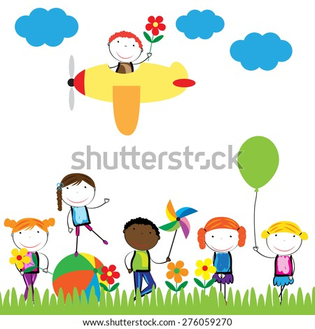 Happy, healthy and colorful girls and boys - stock vector