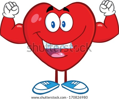 Happy Heart Cartoon Mascot Character Showing Muscle Arms. Vector Illustration Isolated on white - stock vector