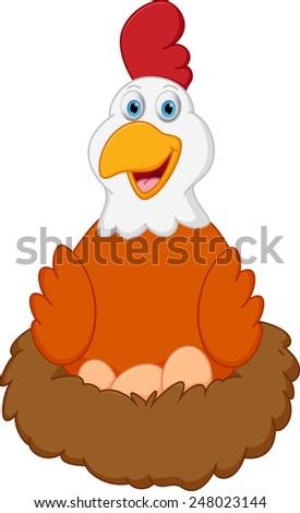 Happy hen cartoon with eggs on nest  - stock vector