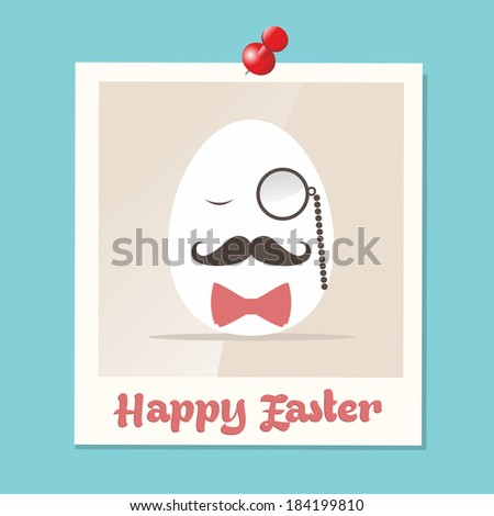 Happy hipster easter greeting card with retro Mr. egg in instant photo illustration. EPS10 vector file organized in layers for easy editing. - stock vector