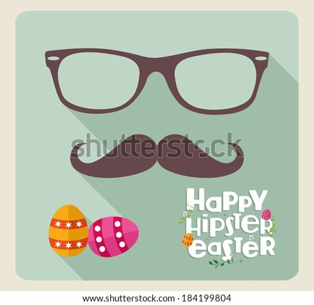 Happy hipster egg greeting card background. EPS10 vector file organized in layers for easy editing. - stock vector