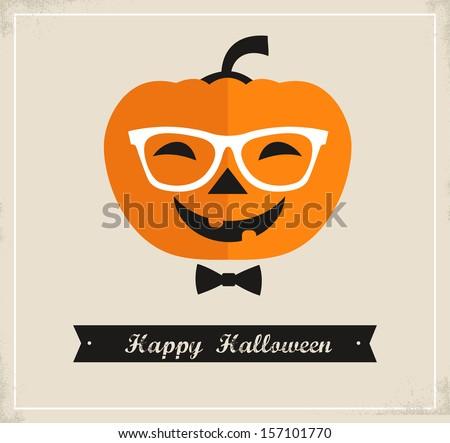 Happy Hipster Halloween - stock vector