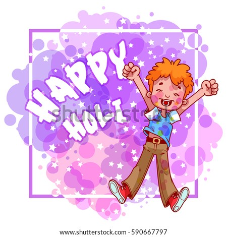Happy Holi card with the fancy kid. Spotted background in violet tones.