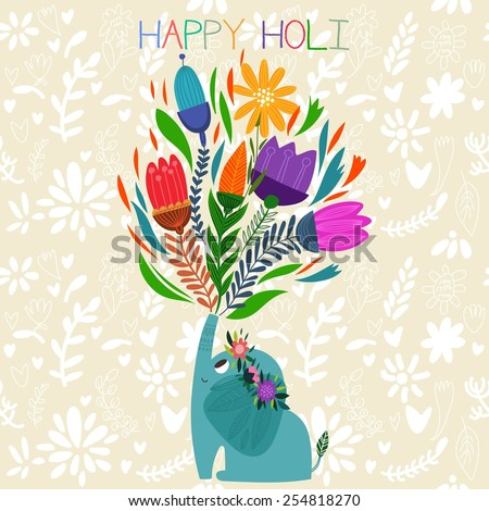 Happy Holi - concept vector card-Indian festival Happy Holi celebrations -with cute elephant Design in a colorful style. - stock vector