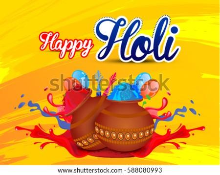 Happy holi greeting card pichkari color stock vector 588080993 happy holi greeting card pichkari and color splashes m4hsunfo