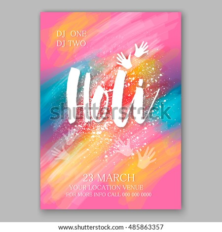 Happy Holi invitation vector template background design element with colorful Holi powder paint clouds and sample text. Blue, yellow, pink and violet powder paint
