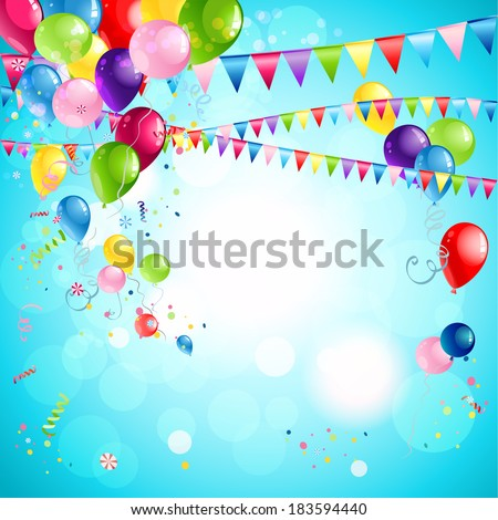Happy holiday background with bright multicolor balloons - stock vector