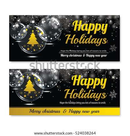 Happy holiday greeting banner and card design template. Merry christmas and New year glass ball theme concept.