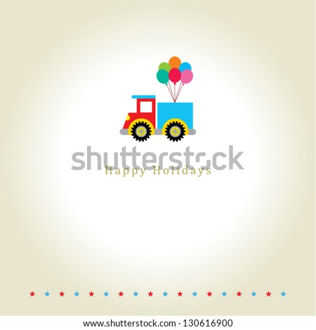 happy holiday greeting with little truck graphic - stock vector
