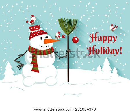 Happy Holiday snowman illustration.Greeting card. vector background - stock vector