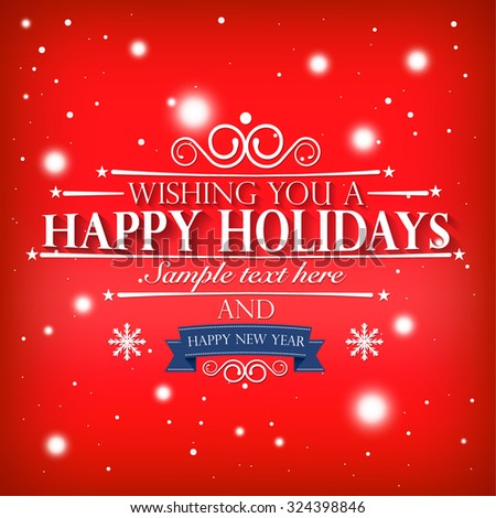 Happy holidays happy new year wishes stock photo photo vector happy holidays and a happy new year wishes card on snowy red pink background m4hsunfo