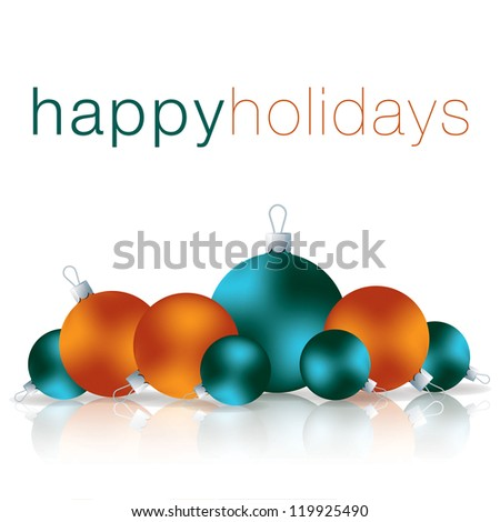 Happy Holidays bauble card in vector format.