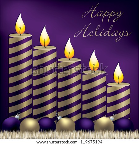 Happy Holidays candle, bauble and tinsel card in vector format. - stock vector