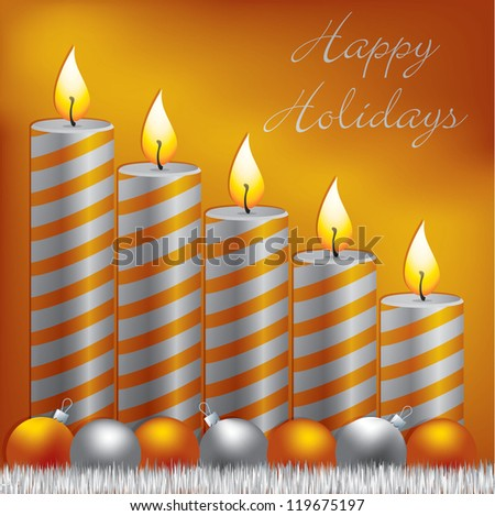 Happy Holidays candle, bauble and tinsel card in vector format.