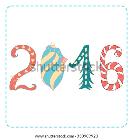 Happy holidays card made of childish doodles for Happy New Year and Merry Christmas. Vector hand drawn card. - stock vector