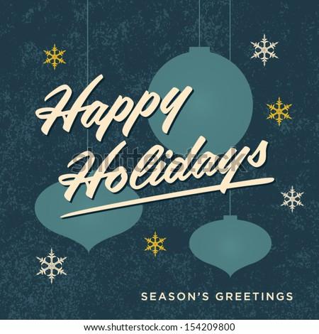 Happy holidays card retro vintage - stock vector