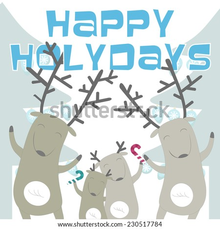 Happy holidays card with cheerful deer family. Vector illustration.
