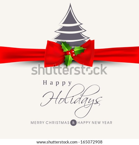 Happy Holidays concept with stylish Xmas tree and red ribbon on abstract background. - stock vector
