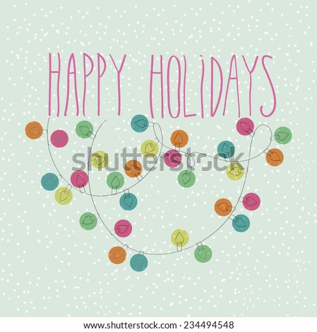 Happy Holidays Doodle Card - stock vector