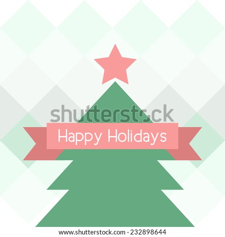 Happy Holidays geometric christmas tree design greeting card. Vector illustration