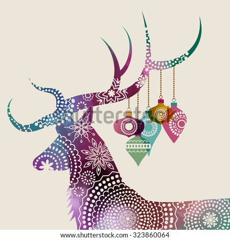 Happy holidays greeting card with a deer and baubles, eps10 vector - stock vector