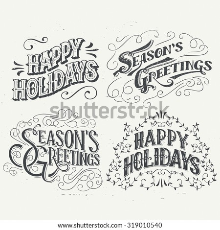 Happy Holidays. Hand drawn typography headlines set for greeting cards in vintage style - stock vector
