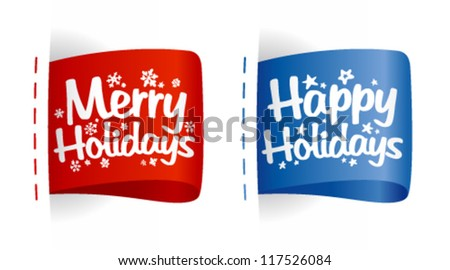 Happy Holidays labels. - stock vector