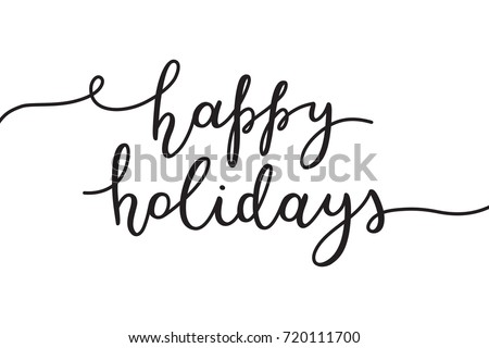happy holidays lettering, vector handwritten text on white background